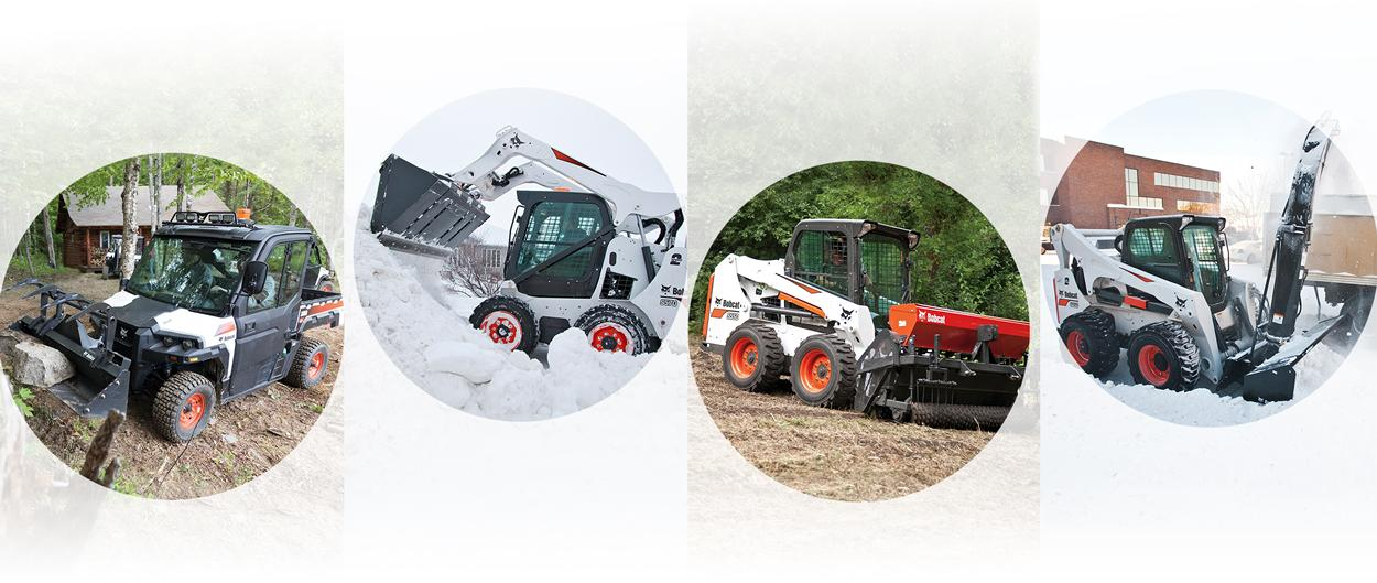 Bobcat UTV and skid-steer loaders using multiple attachments