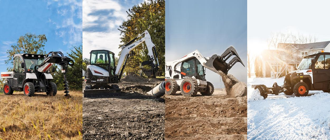 Bobcat attachments on a Toolcat work machine, compact excavator, skid-steer loader and UTV.