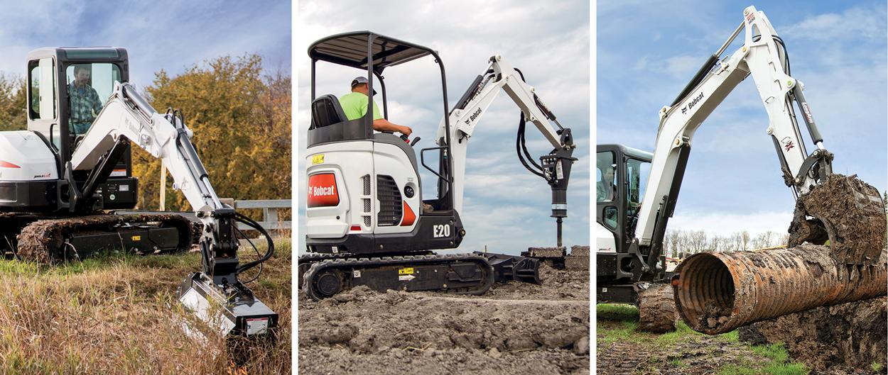 A series of compact excavators using different Bobcat attachments: a flail mower, a breaker and a bucket with clamp.