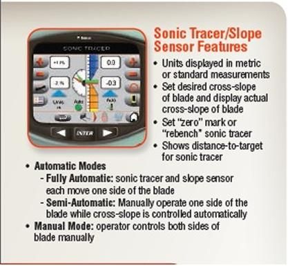Features for the sonic tracer/slope sensor, including automatic and manual mode.