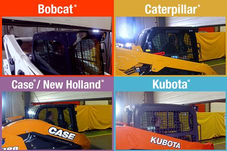 Four images that show how the low cab height on a Bobcat loader compares to Kubota, Caterpillar, Case and New Holland.