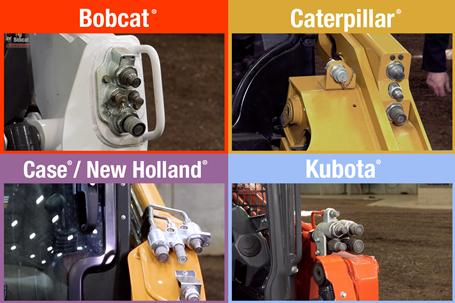 Four images comparing hydraulic systems on Bobcat, Kubota, Caterpillar, and Case/New Holland loaders.