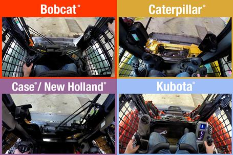 Quick Tach visibility comparison between loaders, including Bobcat, Kubota, Caterpillar, Case, and New Holland.