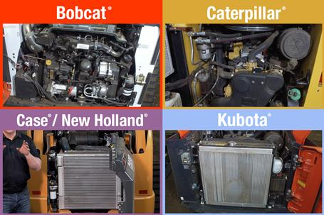 Four images comparing accessibility to key components inside Bobcat, Kubota, Caterpillar, and Case and New Holland loaders.