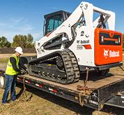 Machine tie-downs on Bobcat compact track loaders and skid-steer loaders.
