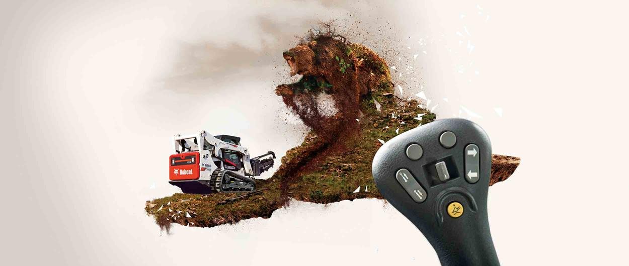 A Bobcat compact track loader loader with selectable joystick controls and a trencher attachment doing battle with a large bear-like creature made of dirt, rocks, and branches. A close-up image of a Bobcat joystick is superimposed over the scene.