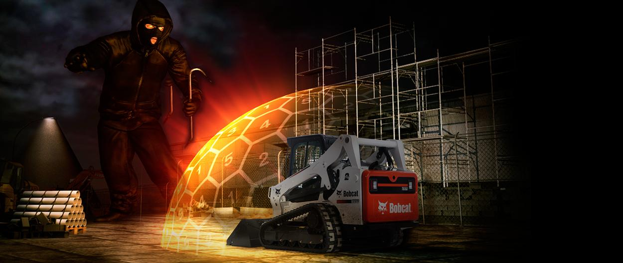A giant thief emerges from the darkness and approaches a Bobcat compact track loader – which is protected by a high-tech, digital shield.