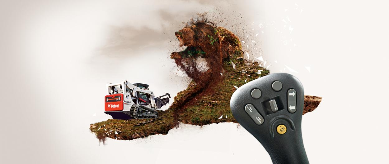 A Bobcat skid-steer loader with selectable joystick controls and a trencher attachment doing battle with a large bear-like creature made of dirt, rocks, and branches. A close-up image of a Bobcat joystick is superimposed over the scene.