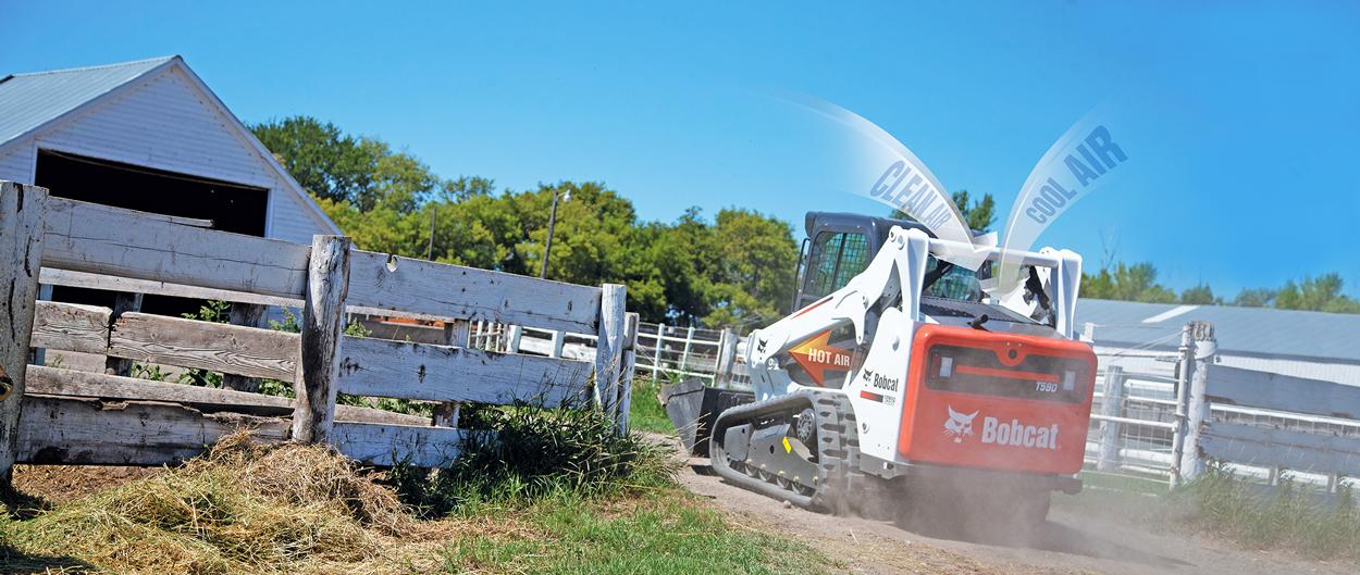 Bobcat T590 compact track loader with SmartFAN and smart cooling system.