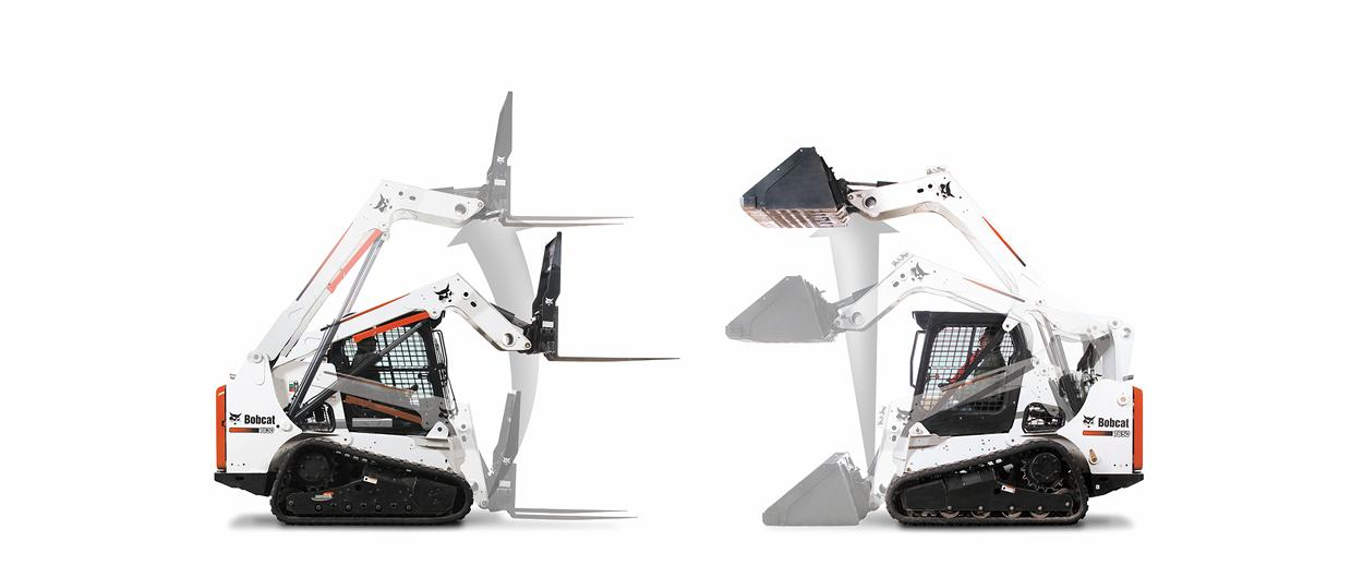 Compact track loaders visual comparison showing difference between vertical lift path and radius lift path loaders.