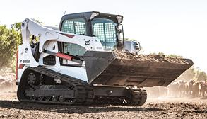 Bobcat T770 compact track loader and bucket attachment