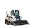 Bobcat T870 compact track loader and bucket attachment.