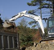 Greasing location on Bobcat compact excavators (mini excavators).