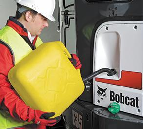 Filling excavator with diesel