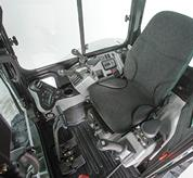 Cab of a Bobcat compact excavator (mini excavator) with storage.