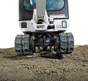 Bobcat compact excavator (mini excavator) with retractable undercarriage.