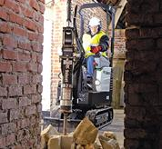 Bobcat compact excavator (mini excavator) with fold-down Tip Over Protective Structure (TOPS).