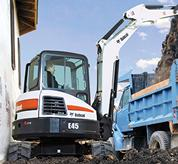 Bobcat compact excavator (mini excavator) with zero tail swing.