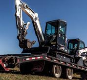 Bobcat E35 excavator on a trailer.
