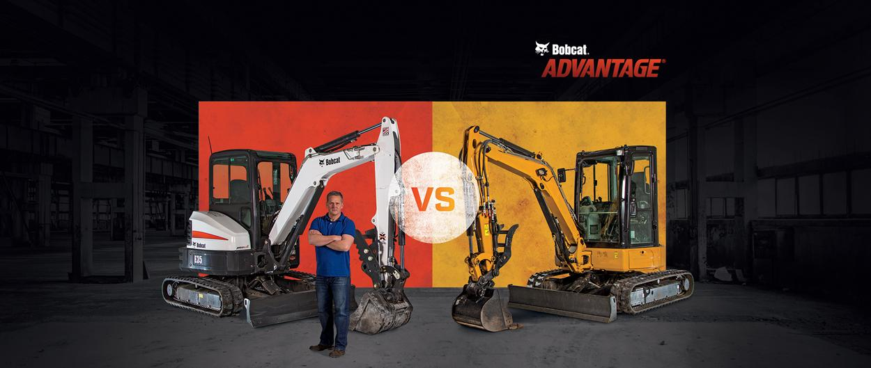 A Bobcat E35 excavator versus other top brands.