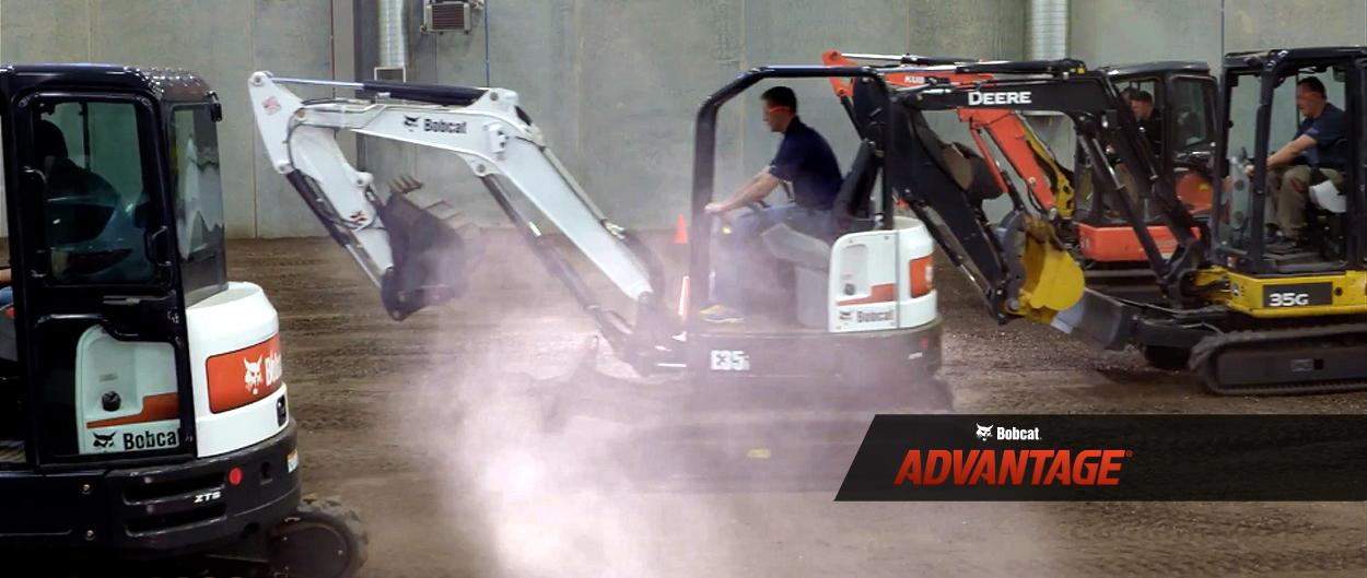 Bobcat compact (mini) excavators compete in a travel speed test.