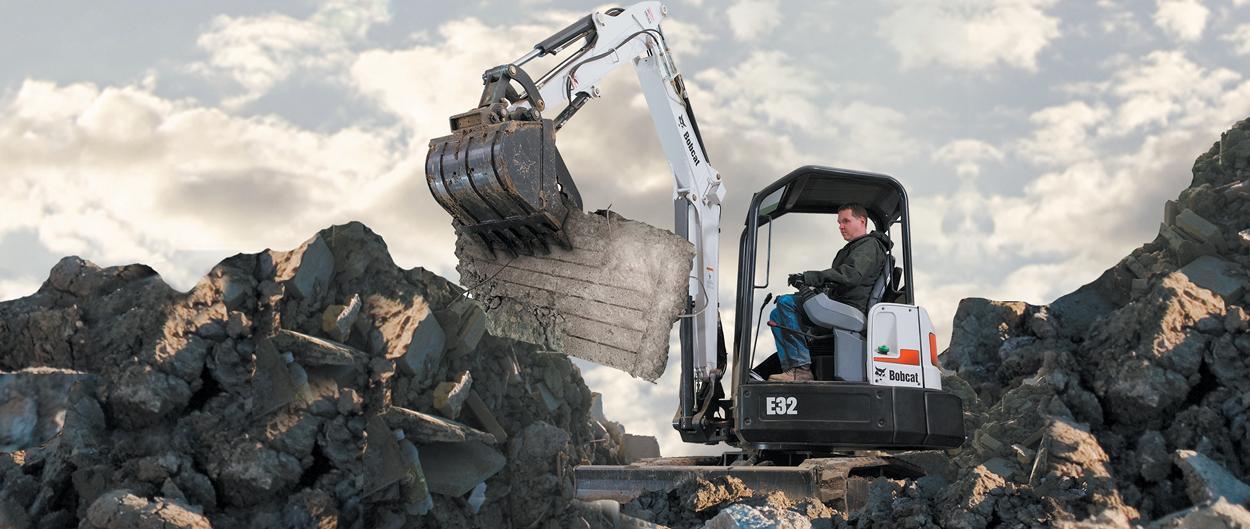Bobcat E32 compact excavator (mini excavator).