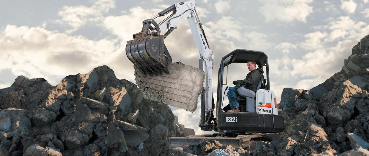 Bobcat E32i compact excavator (mini excavator).