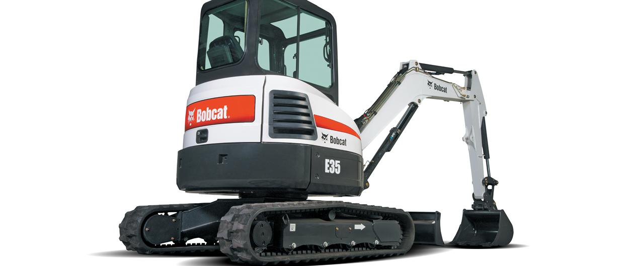 Bobcat compact excavator (mini excavator) with protected tailgate.