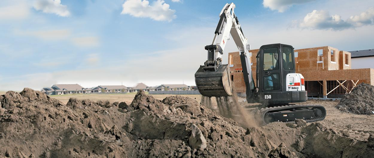 Bobcat E50 compact excavator (mini excavator) with minimal tail swing.