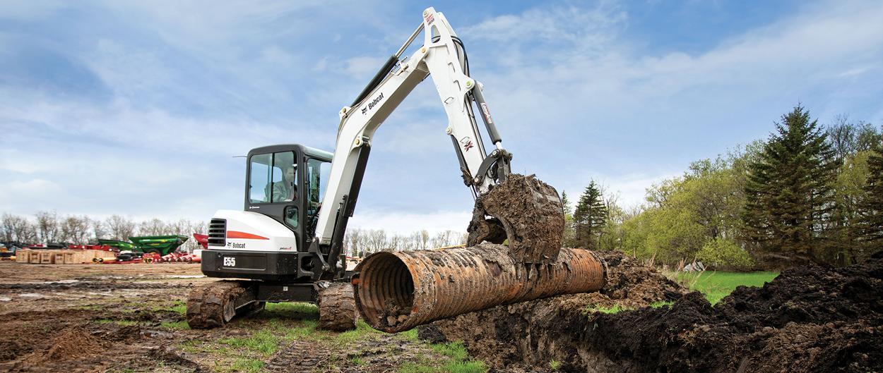 Bobcat E55 compact excavator (mini excavator).