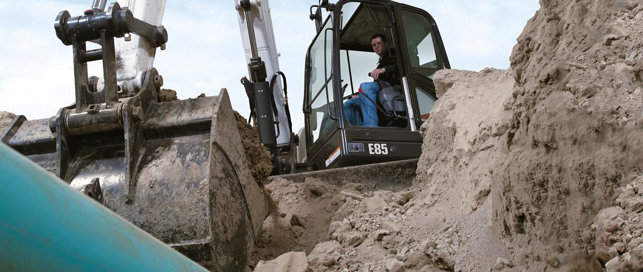 Bobcat compact excavator (mini excavator) with precision control.