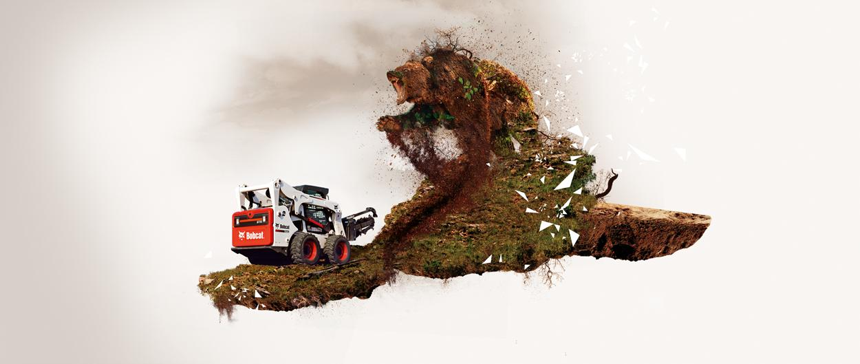 A Bobcat skid-steer loader with trencher attachment is preparing to do battle with a giant bear-like creature, made of dirt, roots and branches.