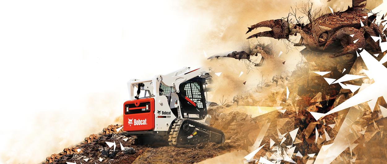 A compact excavator (mini excavator) and compact track loader tackle a difficult job in a surreal environment.
