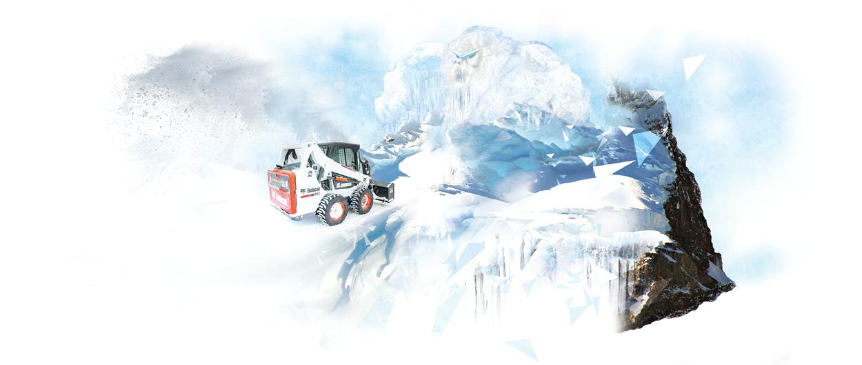 A Bobcat loader with snowblower attachment faces down a large abominable snowman.