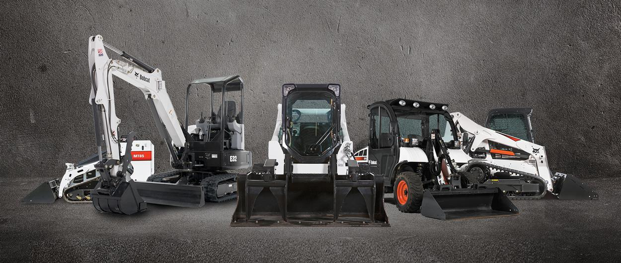Lineup of Bobcat compact equipment and attachments.