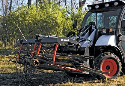 Toolcat utility work machine carries branches with utility forks attachment.
