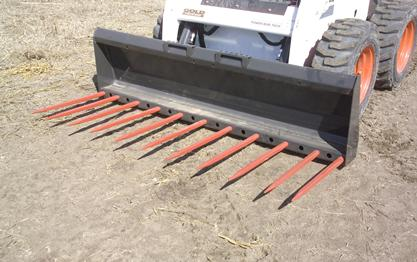 Front profile of Bobcat utility forks for loaders and Toolcat utility work machines.
