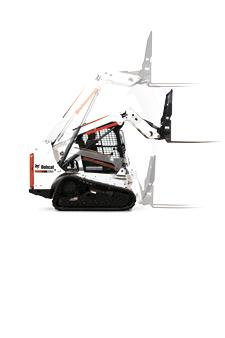 Bobcat compact track loader with radius lift path.