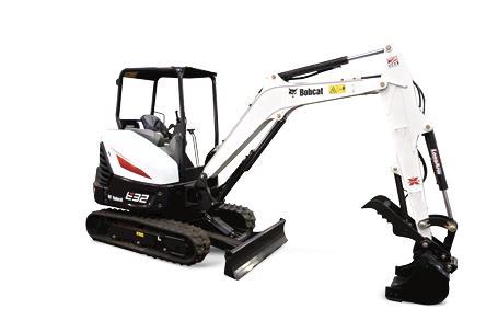 Bobcat E32 R-Series compact (mini) excavator.