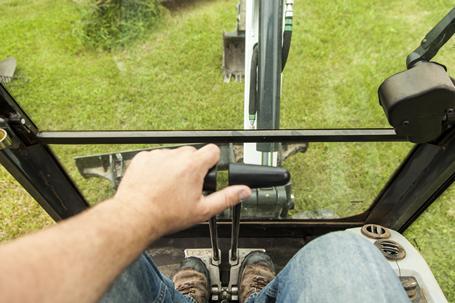 Bobcat compact excavator (mini excavator) ergonomic travel pedals.