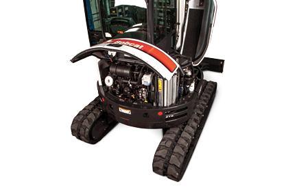 Bobcat compact excavator (mini excavator) service access.