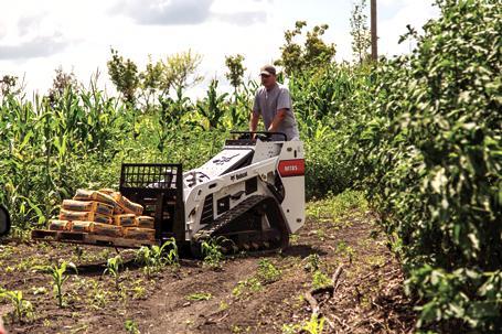 Bobcat MT85 mini track loader with pallet fork.