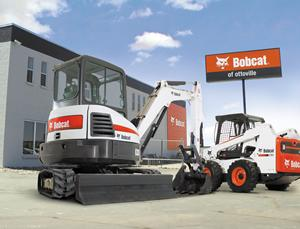 Bobcat compact excavator and skid-steer loader at dealership.