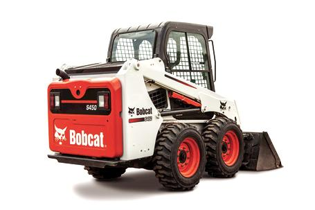 Bobcat S450 skid-steer loader with a bucket.