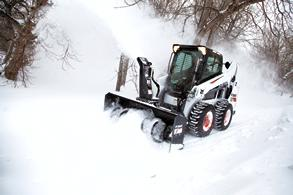 Bobcat snowblower Attachment on the S590 Skid-Steer Loader