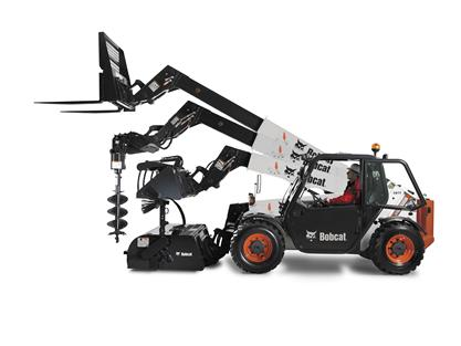 Multiple attachments on the Bobcat V417 VersaHANDLER (telehandler) telescopic tool carrier, including a pallet fork, auger, and pallet fork.