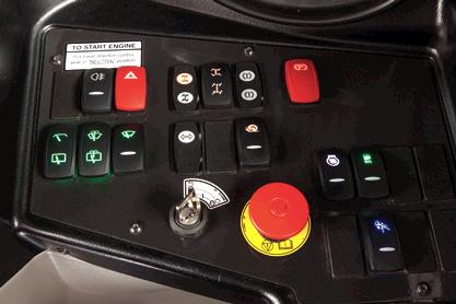 The control panel inside the VersaHANDLER V519 telehandler.