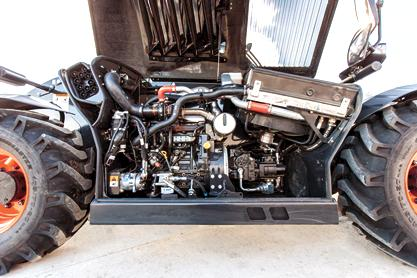 The VersaHANDLER V519 telehandler engine.
