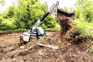 The VersaHANDLER V519 telehandler can handle a variety of attachments, including pallet forks, auger, grapple and a sweeper.