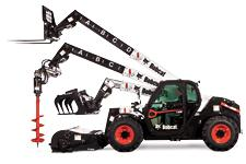 Bobcat V723 VersaHANDLER telehandler with examples of attachments.